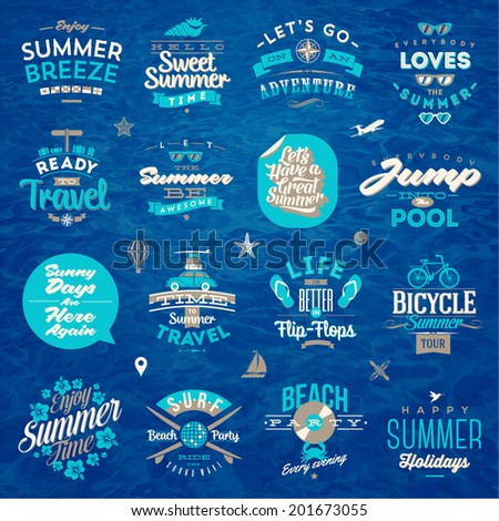 Vector illustration - Set of travel and summer vacation type design - stock vector