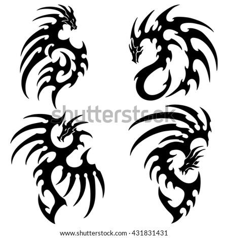 dragon tattoo stock vector 99671360 shutterstock. Black Bedroom Furniture Sets. Home Design Ideas