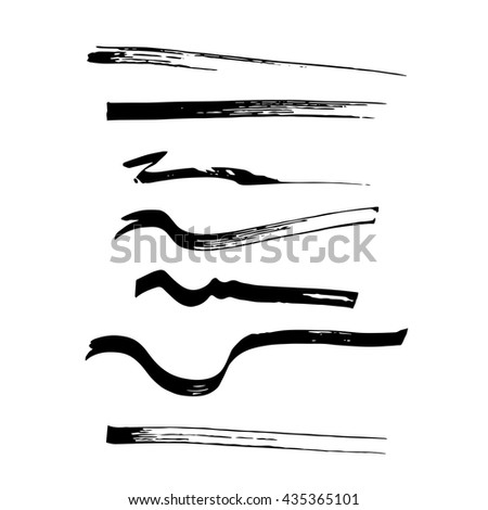 Vector illustration. Set of vector brushes.Vector set of grunge brush strokes of the pen.Texture, made a broad-pen.