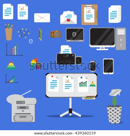 Vector illustration. Set of vector flat design concept icons of office equipment. Computer,printer, laptop,copier,note board 