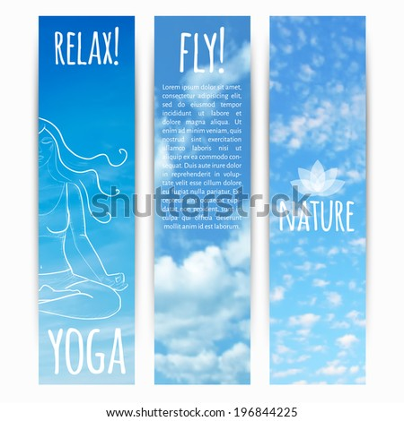 vector illustration. Set of  vertical banners with sky background and  sketch a girl in lotus position - stock vector