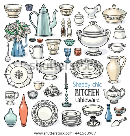 Vector illustration set of vintage dishes, shabby chic style, retro toned, isolated on white