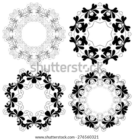 Vector illustration. Set of vintage frames with pattern. Hand drawn. - stock vector