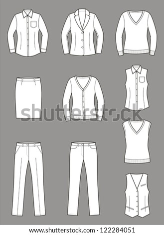 Vector illustration. Set of women's business clothes: jacket, shirt, waistcoat, pants, knitwear, cardigan, jumper. Business style - stock vector