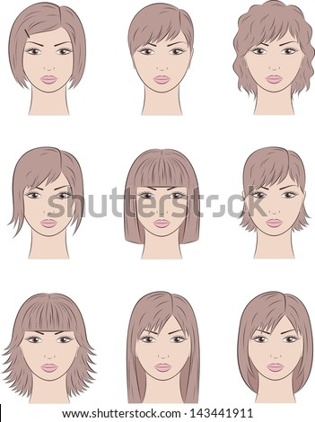 Vector illustration. Set of women's faces. Different hairstyles - stock vector