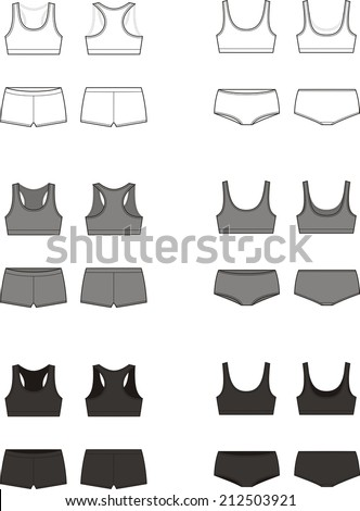 Vector illustration. Set of women's sport underwear. Bra and shorts. Different colors. Front and back views - stock vector