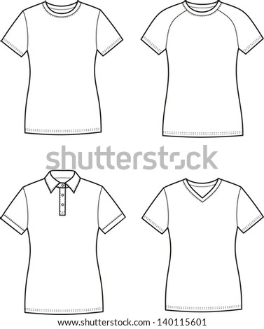 Vector illustration. Set of women's t-shirts - stock vector