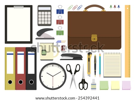 Vector illustration. Set office supplies in flat design - stock vector