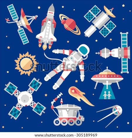 Vector illustration set on space icon Flat - stock vector