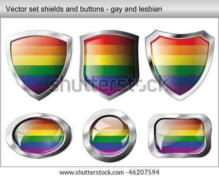 Vector illustration set. Shiny and glossy shield and button for gay community. Abstract objects isolated on white background. - stock vector