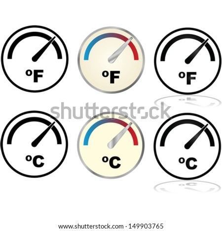 Vector illustration set showing icons for temperature displays in Fahrenheit and Celsius - stock vector