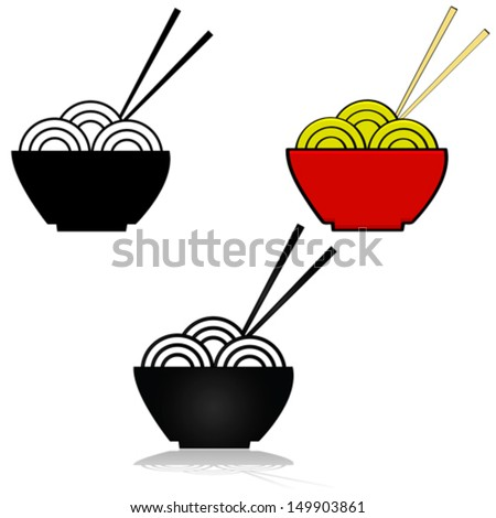 Vector illustration set showing three variations of an icon for a bowl of noodles