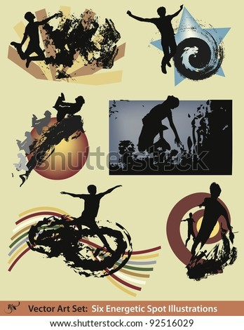 Vector Illustration Set:  Six energetic modern grunge style silhouette spot illustrations. - stock vector