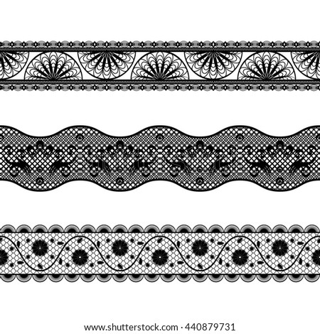 vector illustration set three openwork lace ribbons