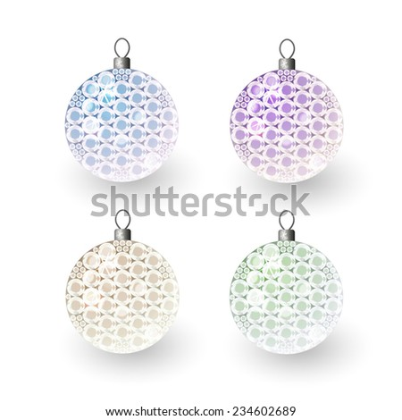 Vector illustration: Set translucent clouded shiny christmas 3d decorative balls made of green, blue, purple and beige crystals - stock vector