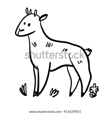 Vector illustration set with nanny goat. Funny doodle goat. Handy drawn goat. Cute cartoon domestic animals. Cute farm nanny goat. - stock vector