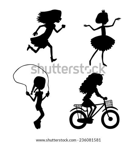 Vector illustration set with silhouette kids, go in for sports, run, dance, jump rope, ride a bicycle  - stock vector