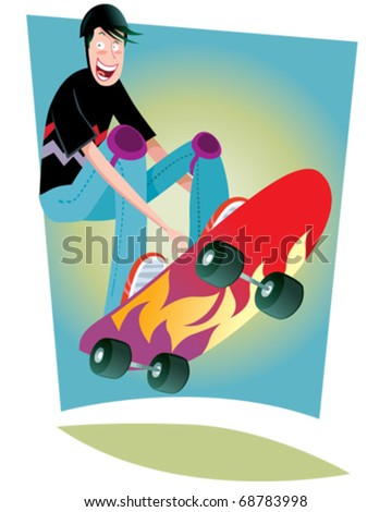 vector illustration showing a boy skating