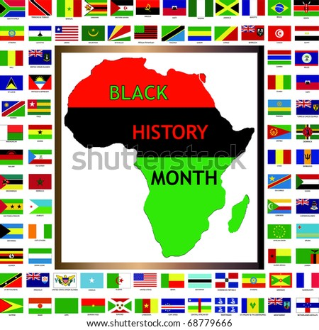 Vector Illustration showing African and black cultured flags for Black History Month. - stock vector