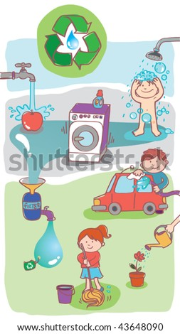 Vector illustration showing how to use home RECYCLED WASTEWATER generated from domestic processes. Recycled water can be used for cleaning floors, washing the car, watering plants, etc. - stock vector