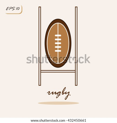 Vector illustration showing rugby ball and gates. Rugby Sports Game