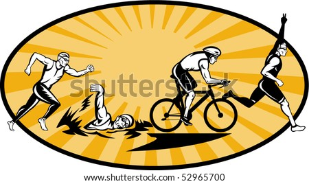 vector illustration showing the progression of Olympic triathlon showing an athlete starting, swimming, biking or cycling and finishing of with  a run. - stock vector