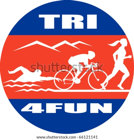 vector illustration showing the progression of triathlon showing an athlete swimming, biking or cycling and finishing of with  a run.