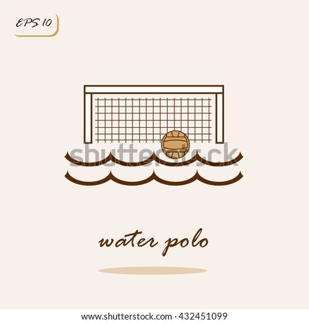 Vector illustration showing water, gate, ball. Water polo Sports Game