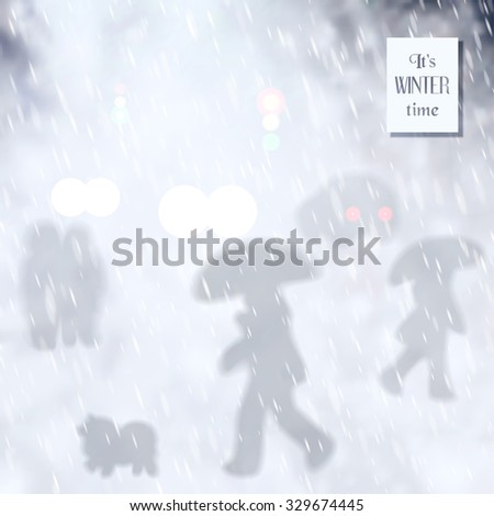 Vector illustration. Silhouette image of life in the city under the snowfall. A walking couple, a man with a dog, which are moving across the road, the car.