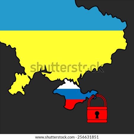 Vector illustration. Silhouette map of the Ukraine and Crimea area under padlock. - stock vector