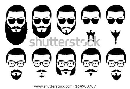 vector illustration silhouette mustache and beard - stock vector