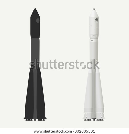 Vector illustration, silhouette of a space rocket