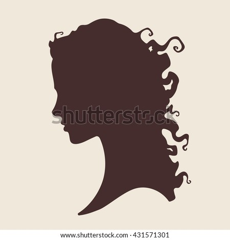 Vector illustration silhouette of beautiful curly girl in profile isolated. Beauty salon or hair product logo design - stock vector