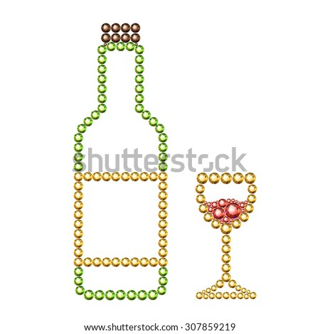 Vector illustration: silhouette of bottle of wine with label and plug and wineglass with red wine made of golden, green, red and brown crystals isolated on white background - stock vector