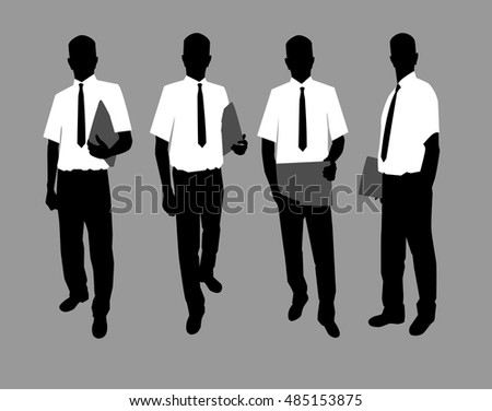Vector Illustration. Silhouette of businessmen in white shirts and ties with folders in hands.