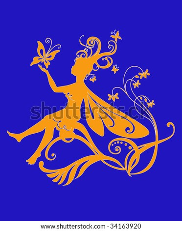 Vector Illustration Silhouette of funky fairy on flower pattern design - stock vector