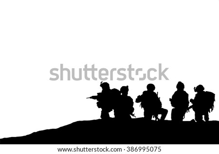 Vector Illustration silhouette of military army personnel - stock vector