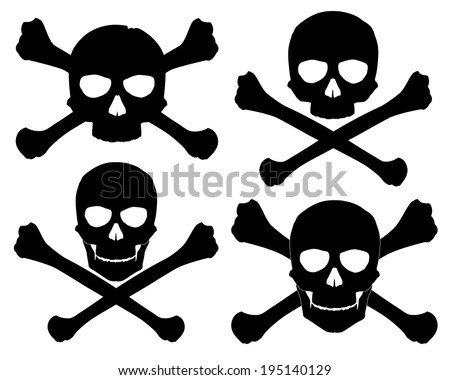 Vector illustration. Silhouette of the Jolly Roger. See also these skull with crossed saber and pistol in my portfolio - stock vector