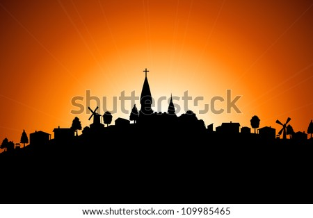 Vector illustration - silhouette of village with church at sunset - stock vector