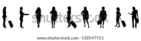 Vector illustration silhouettes business woman on white background