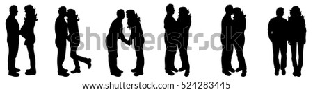 Vector illustration silhouettes of couple on white background