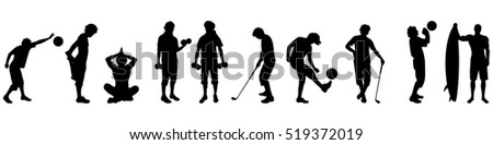 Vector illustration silhouettes of different sport on white background