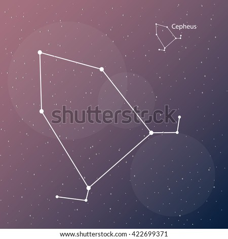 Vector illustration. Simple and modern shape of Cepheus constellation. Cosmos purple background. Astrology and astronomy