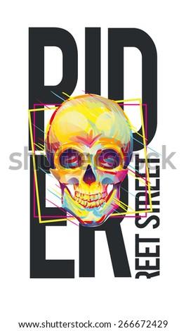 vector illustration skateboard freestyle street style legendary rider of colorful skull, graphics for t-shirt ,vintage design - stock vector