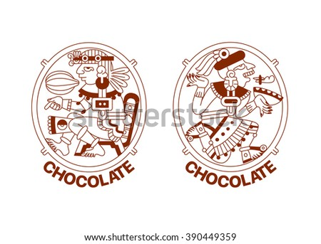 vector illustration sketch drawing contour pattern maya, aztec and cacao nibs, chocolate label logotype on brown color in white background