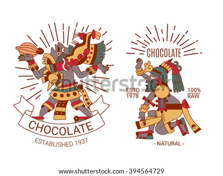 vector illustration sketch drawing contour pattern maya, aztec and cacao nibs, chocolate label logotype set on brown, red, green, grey, yellow colors in white background