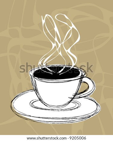 vector illustration sketch of a cup of hot coffee and steam - stock vector