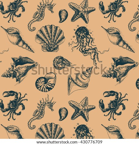 Vector illustration sketch - Sea collection. seahorse, sea horse, hippocampus, starfish, sea star, whale, shrimp, prawn, crab, jellyfish, seashell