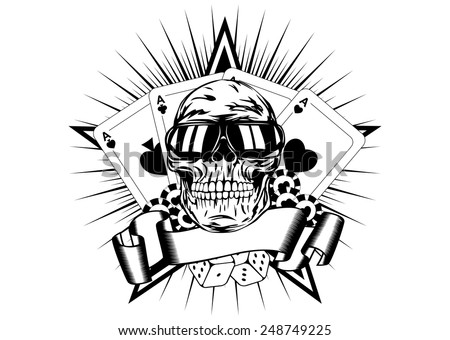 Vector illustration skull in sunglasses playing cards dice chips - stock vector