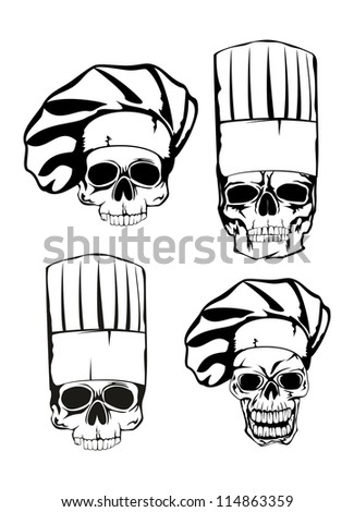 Vector  illustration skull in toque set - stock vector